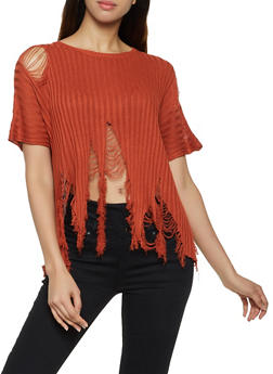 Shredded Short Sleeve Sweater - 3020058750237