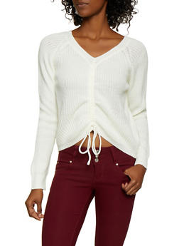 Drawstring Front Sweater - 3020058750243