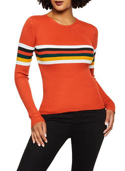 Stripe Detail Ribbed Knit Sweater - 3020058750323