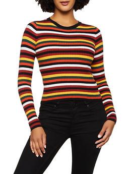 Striped Crew Neck Sweater - 3020058750328