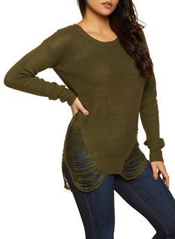 Distressed Tunic Sweater | 3020074051465 - 3020074051465