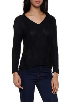 Knit Slashed Back Sweater - 3020074051803