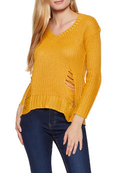 Knit Slashed Back Sweater - 3020074051803