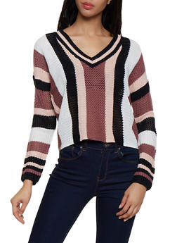 Vertical Stripe Pointelle Sweater - 3020074051858