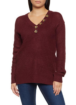 V Neck Button Sweater - 3020074051864