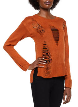 Slashed Long Sleeve Sweater - 3020074052737