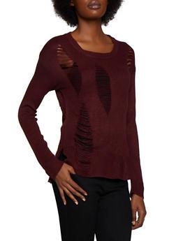 Slashed Long Sleeve Sweater - 3020074052737