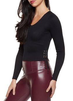 Ribbed Lace Up Side Sweater - 3020075170140