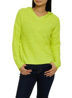 Popcorn Knit Hooded Sweatshirt - YELLOW - 3020075170189