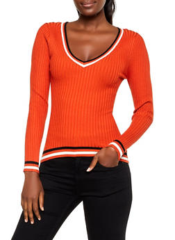 Contrast Trim V Neck Sweater - 3020075172066