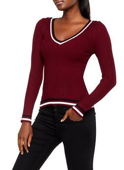 Contrast Trim V Neck Sweater - 3020075172066