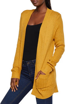 Knit Open Front Cardigan - 3022038343222