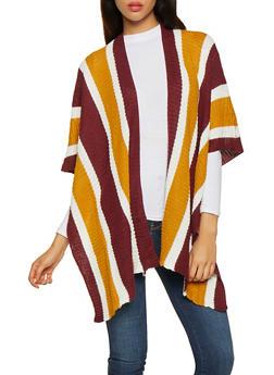 Striped Knit Kimono - 3022038348188