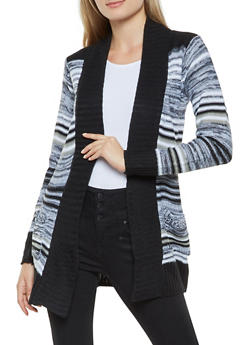 Striped Contrast Trim Cardigan - 3022038348211
