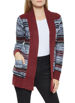 Striped Contrast Trim Cardigan - 3022038348211