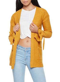 Knit Tie Sleeve Cardigan - 3022038348214