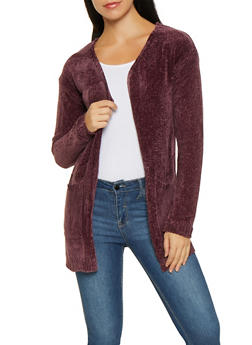 Open Front Chenille Cardigan - 3022038348225
