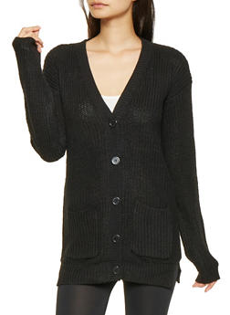 Knit Button Front Cardigan - 3022038348226
