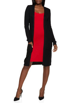 Long Sleeve Pointelle Duster - 3022038349203