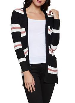 Striped Pointelle Cardigan - 3022038349204