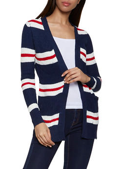 Striped Pointelle Cardigan - 3022038349204