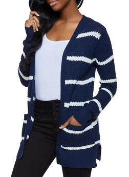 Two Pocket Striped Cardigan - 3022038349205