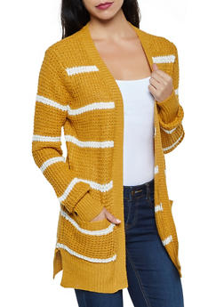 Two Pocket Striped Cardigan - 3022038349205