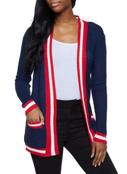 Striped Trim Cardigan - 3022038349206