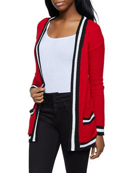 Striped Trim Cardigan - 3022038349206