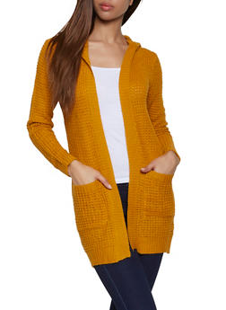 Hooded Pointelle Cardigan - 3022038349207