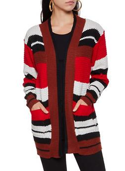 Two Pocket Multi Striped Knit Cardigan - 3022038349208