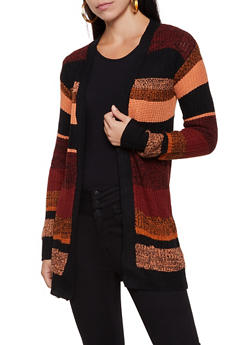 Two Pocket Striped Knit Cardigan - 3022038349209