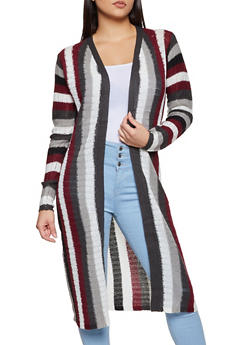Knit Striped Duster - 3022038349211