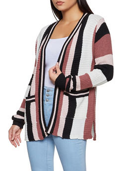 Striped Knit Cardigan - 3022038349221