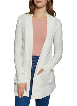 Open Front 2 Pocket Knit Cardigan - 3022054263347