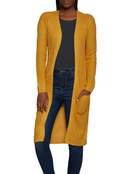 Long Sleeve Two Pocket Knit Duster - 3022054265818