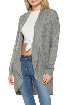 Open Front Shawl Collar Cardigan - 3022054267832