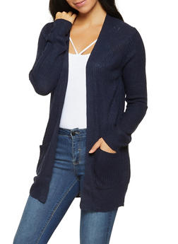 Knit Open Front Cardigan - 3022054267840