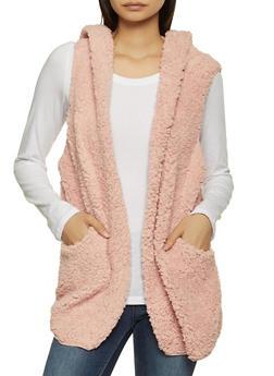 Hooded Sherpa Vest - MAUVE - 3030058751106