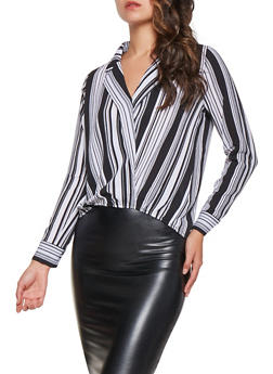 Striped Faux Wrap Top - 3031015990300