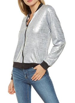 Reversible Metallic Knit and Floral Bomber Jacket - 3031038342252