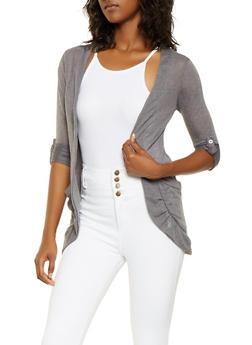 Knit Tabbed Sleeve Cardigan - 3031038342643