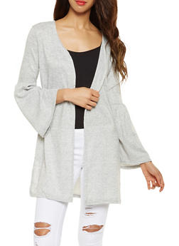 Open Front Bell Sleeve Duster - 3031038343093