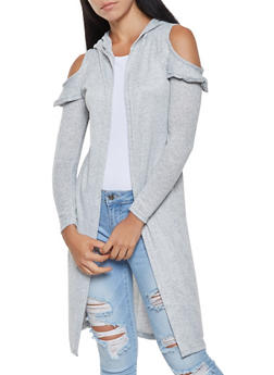 Hooded Cold Shoulder Duster - 3031038343108
