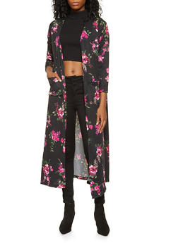 Open Front Floral Duster - 3031038343145
