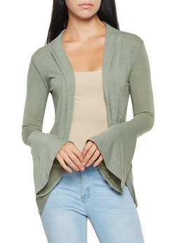 Lightweight Bell Sleeve Cardigan - 3031038343158