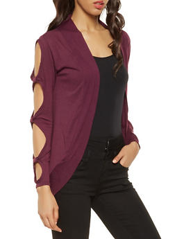 Cut Out Sleeve Cardigan - 3031038343159