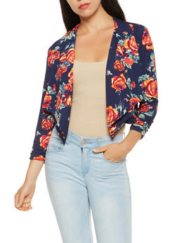 Cropped Printed Blazer - NAVY - 3031038343354