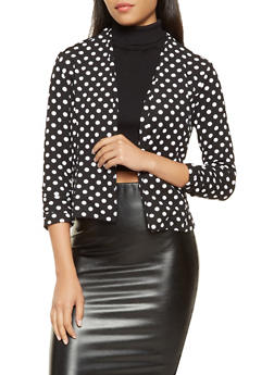 Printed Ruched Sleeve Blazer - BLACK/WHITE - 3031038343359