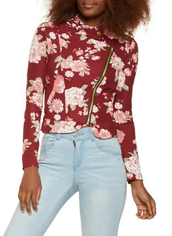 Textured Knit Zip Up Jacket - WINE - 3031038343361